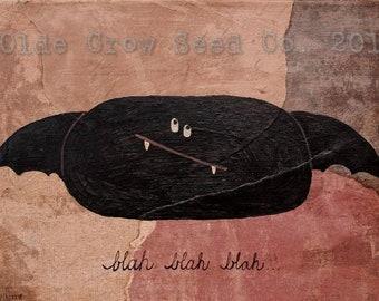 Funky Bat Painting 9x12  Original Mixed Media