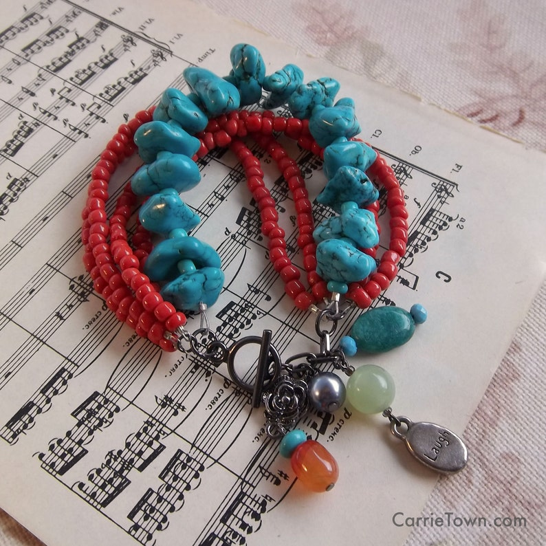 Funky multi-strand bracelet with colorful dangling charms image 0