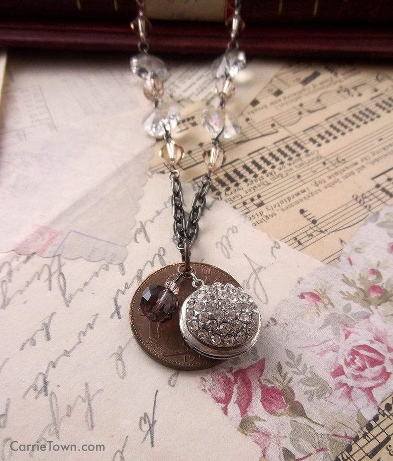 Unique coin and rhinestone locket pendant necklace image 0