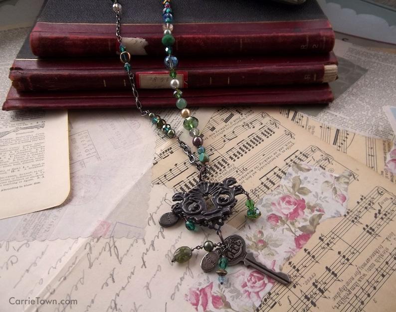 Unique Key and Keyhole Long Beaded Necklace image 0