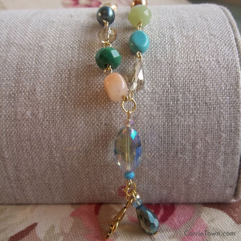 Delicate Springtime beaded necklace made with crystals image 0