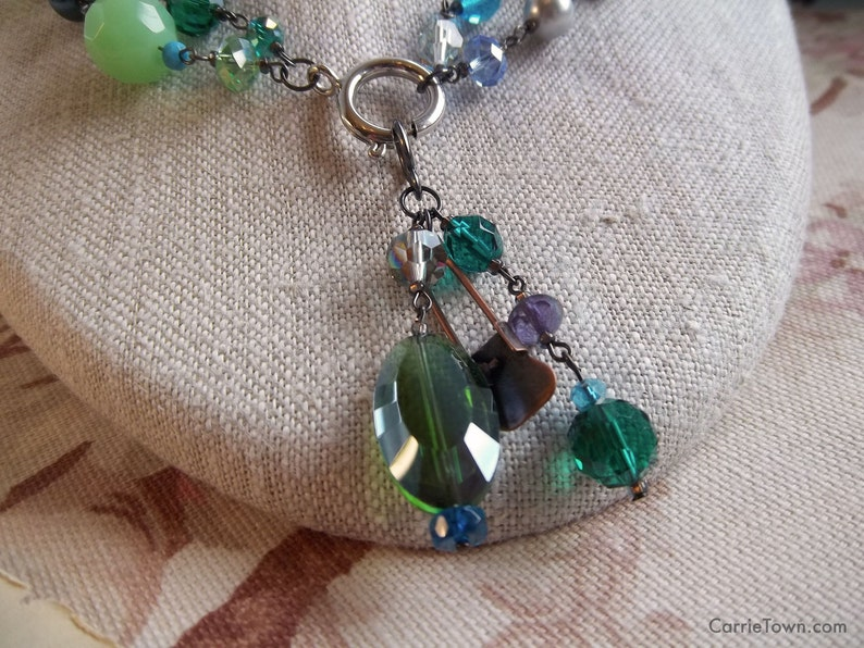 Versatile blue green teal and lilac beaded necklace made image 0