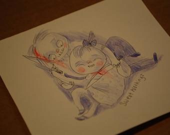 Sweet Nothings Original Drawing by Kamila Mlynarczyk