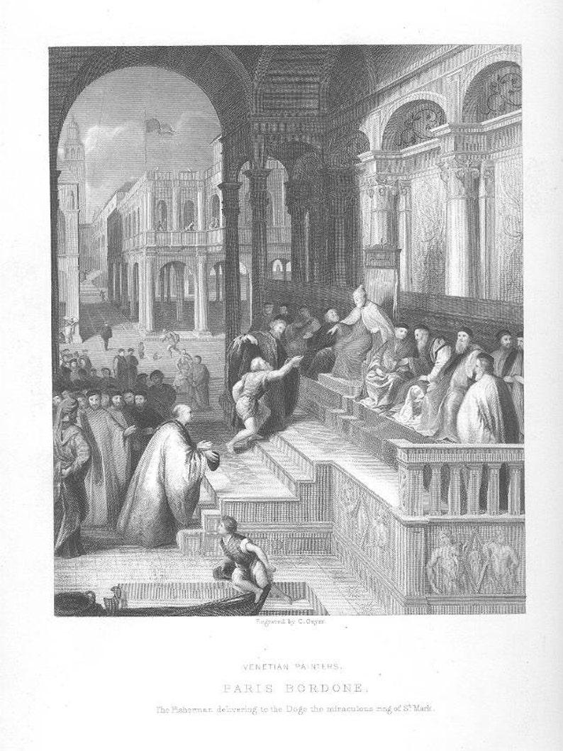 Saint St  MARK VENICE ITALY Paris Bordone Classic ~ Vintage Antique Steel  Plate Engraving Art Print, 1870s [InvEUART 7