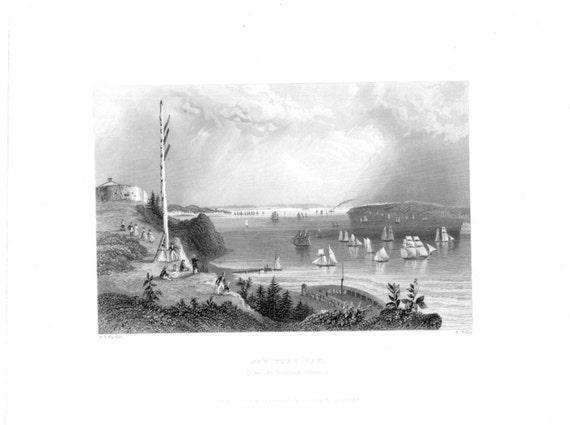 New york bay telegraph station maritime american landscape
