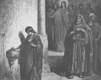 ROMAN COIN WIDOW'S Mite Temple Coin ~~ 1800s Old Vintage Antique Art Print Engraving Biblical Gustave Dore [inv#71