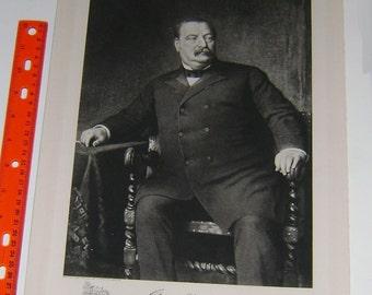 President GROVER CLEVELAND   ~ White House Portrait, 1901, America,  Americana United States American President Antique Art Print inv#BP10
