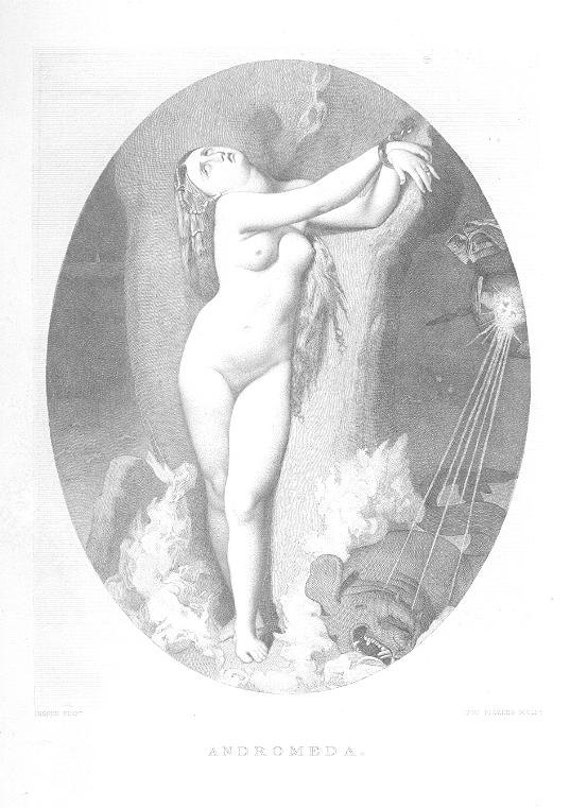ANDROMEDA Nude WOMAN SEA onster Magic ~ Vintage Antique Steel Plate  Engraving Art Print, 1870s [InvEUART 66