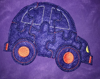 Custom Embroidered Felt Car Puzzle Quiet Toy - You Choose Colors!