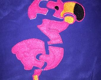 Custom Embroidered Felt Flamingo Puzzle Quiet Toy - You Choose Colors!