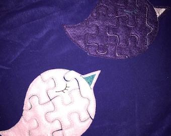 Custom Embroidered Felt Birdie Puzzle Quiet Toy - Choose your colors!