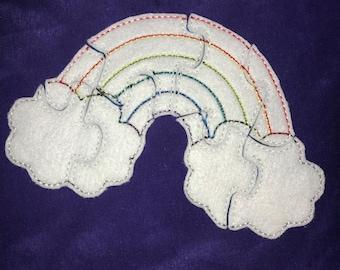 Custom Embroidered Felt Rainbow Puzzle Quiet Toy