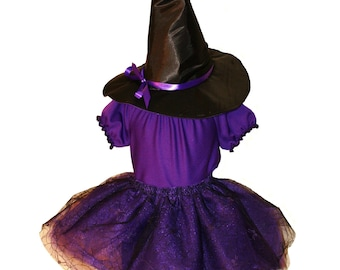 Wee Lil Witch Custom Tutu Costume Set - Includes Long Blouse/ Dress, Sewn Tutu and Hat