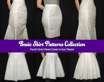 Skirt Patterns Collection    Pencil, Circle (full and half), Flared, Gored, A-line, Pleated