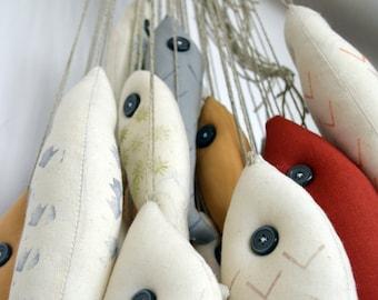 cloth doll, fish on a string, 2012 version