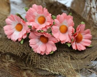 Bean Red  Mulberry Paper Flower Hair Pins , Bridal Hair Pins, Hair Bobby Pins,U pins,Prom,Bridal Hair Accessories (FL7)