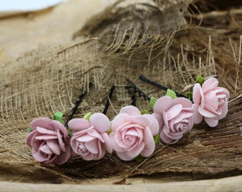Light Pink  Roses, Mulberry Paper Flower Hair Pins , Bridal Hair Pins, Hair Bobby Pins,rustic wedding,Prom,Bridal Hair Accessories (FL408)