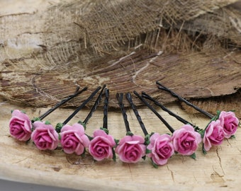 Pink Rose Hairpins, Mulberry Paper Flower Hair Pins , Bridal Hair Pins, Hair Bobby Pins,Prom,Bridal Hair Accessories (FL354)