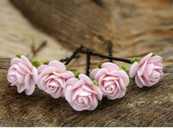 Small Pink  Roses, Mulberry Paper Flower Hair Pins , Bridal Hair Pins, Hair Bobby Pins,rustic wedding,Prom,Bridal Hair Accessories (FL210)