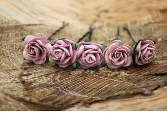 Pink Bow  Purple Roses, Mulberry Paper Flower Hair Pins , Bridal Hair Pins, Hair Bobby Pins,rustic wedding,Bridal Hair Accessories (FL227)