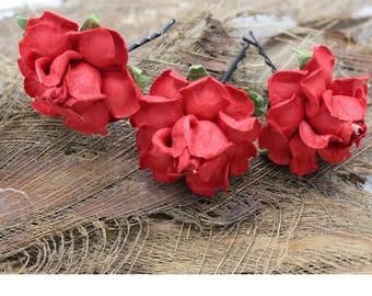 3 Small Red Roses Mulberry Paper Flower Hair Pins , Bridal Hair Pins, Hair Bobby Pins,rustic wedding,Bridal Hair Accessories (P2)