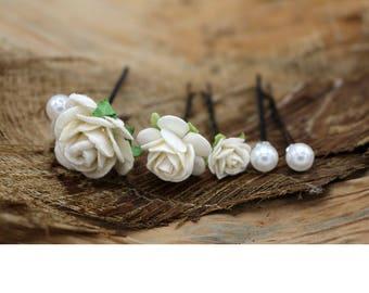 Small White  Roses,  Mulberry Paper Flower Hair Pins , Bridal Hair Pins, Hair Bobby Pins,rustic wedding,Prom,Bridal Hair Accessories (FL226)