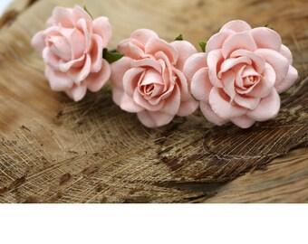 Pink  Roses, Mulberry Paper Flower Hair Pins , Bridal Hair Pins, Hair Bobby Pins,rustic wedding,Prom,Bridal Hair Accessories (FL228)
