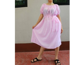 Sweet Pink Soft Cotton Oversized Women's Smock Maxi Dresses (P11)