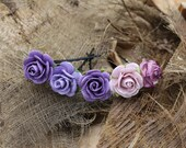 5 Small Purple Roses, Mulberry Paper Flower Hair Pins , Bridal Hair Pins, Hair Bobby Pins,U pins,Prom,Bridal Hair Accessories (FL332)