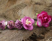 Set of 5  Pink & Purple  Mulberry Paper Flower Hair Pins , Bridal Hair Pins, Hair Bobby Pins,U pins,Prom,Bridal Hair Accessories (FL361)