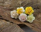 5 Small Yellow Peach Roses, Mulberry Paper Flower Hair Pins , Bridal Hair Pins, Hair Bobby Pins,U pins,Prom,Bridal Hair Accessories (FL333)