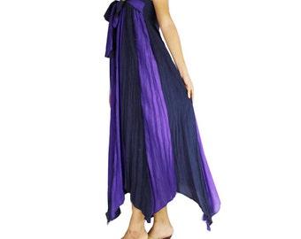 Purple Cotton Boho Hippie 2 in 1 Smock Maxi Dress& Summer  Long Skirt Casual wear Plus size (SD 01)