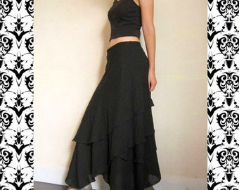Custom Made Black Cotton Boho Hippie Two Layers Circle Wrap Skirt  S-L (H)