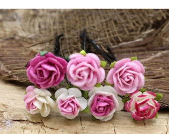 Pink Rose Hairpins, Mulberry Paper Flower Hair Pins , Bridal Hair Pins, Hair Bobby Pins,Prom,Bridal Hair Accessories (FL367)