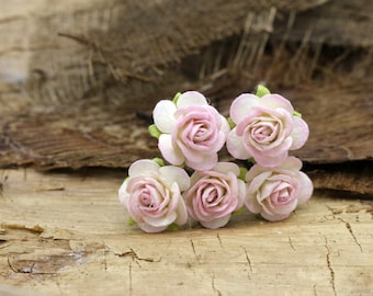Pink Rose Hairpins, Mulberry Paper Flower Hair Pins , Bridal Hair Pins, Hair Bobby Pins,Prom,Bridal Hair Accessories (FL353)
