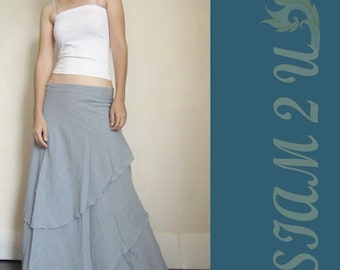 Custom Made Light Gray Cotton Boho Hippie Two Layers Circle Wrap Skirt  S-L (H)