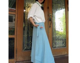 Boho Hippie Gypsy Blue Cotton Long  Circle Wrap Skirt  S-L (C1)