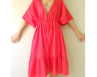 Custome Made Red Soft Cotton Loose Summer Kimono Maxi Dress one fit all most S-L (H)