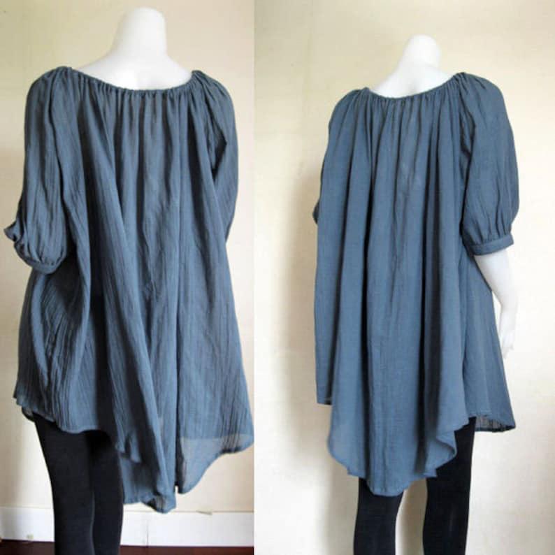 H Cotton Tunics for women Marble Blue Soft Cotton Boho  Hippie Sweet Loose Casual Blouse  M-L