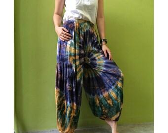 Boho Hippie Gypsy Tie Dye Rayon Smock Waist Long Aladdin Pants S-L (PR 3)
