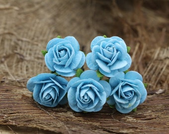 Blue Rose Hairpins, Mulberry Paper Flower Hair Pins , Bridal Hair Pins, Hair Bobby Pins,Prom,Bridal Hair Accessories (FL368)