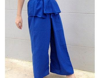 Hippie gypsy blue cotton Thai fisherman pants  (N49)