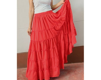 Red Cotton  Boho Hippie  Long Summer Elastic Waist Ruffle Skirt   (H)