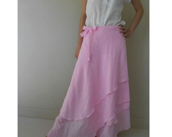 Custom Made Light  Pink Cotton Boho Hippie Gypsy Two Layers Circle Long Wrap Skirt S-L (H)