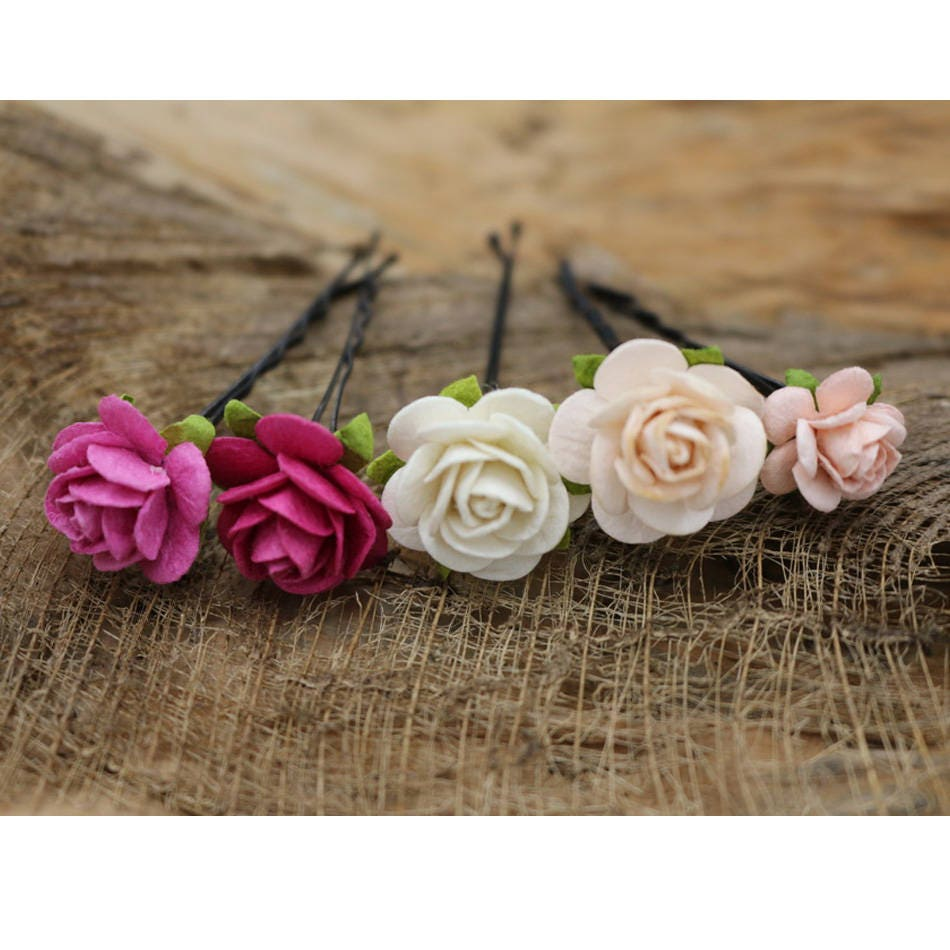 Small Pink Peach Roses Hairpin Mulberry Paper Flower Hair Etsy
