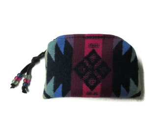 Zippered Pouch Coin Purse Change Purse Yellow Fringed Deer Leather Blanket Wool from Pendleton Oregon