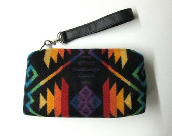 8936aebd6285b Poignet sac pochette sac à main cuir noir amovible sangle couverture laine  de Pendleton Oregon