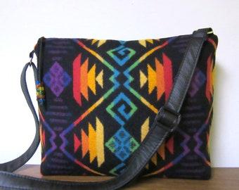 19545ab7419c2 Cross Body Bag épaule sac à main en cuir noir réglable sangle couverture  laine de Pendleton Oregon