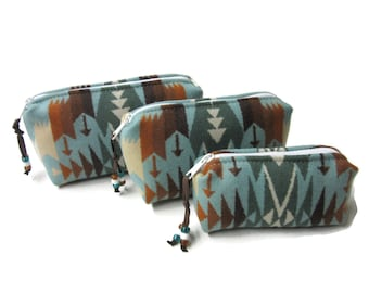 Gift Set of 3 Handmade Wool Zippered Pouches Purse Organizers Travel Bags Blanket Wool from Pendleton Oregon