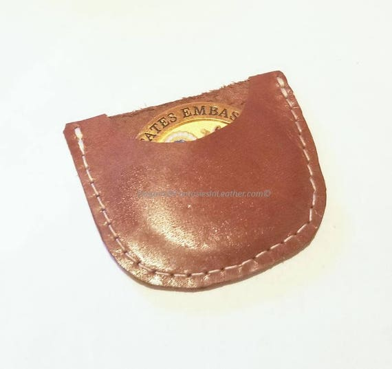 """Leather Coin Sleeve Protector for 1 oz Rounds or 1 3//4/"""" Challenge Coins Pouch"""